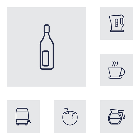 ferment: Set Of 6 Beverages Outline Icons Set.Collection Of Wine Cask, Coffeepot, Bottle And Other Elements.