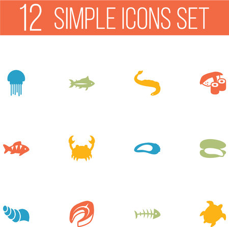 salmon steak: Set Of 12 Seafood Icons Set.Collection Of Beefsteak, Sink, Shell And Other Elements.