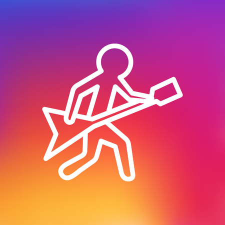 rock guitarist: Isolated Playing Outline Symbol On Clean Background. Vector Guitar Element In Trendy Style. Illustration