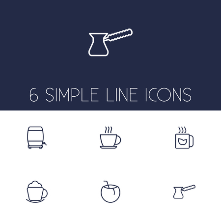 Set Of 6 Beverages Outline Icons Set.Collection Of Pot, Wine Cask, Coconut And Other Elements.