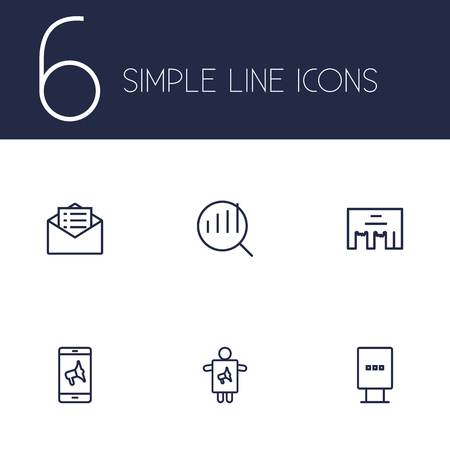 Set Of 6 Advertising Outline Icons Set.Collection Of Worker, Research, Direct Message And Other Elements.