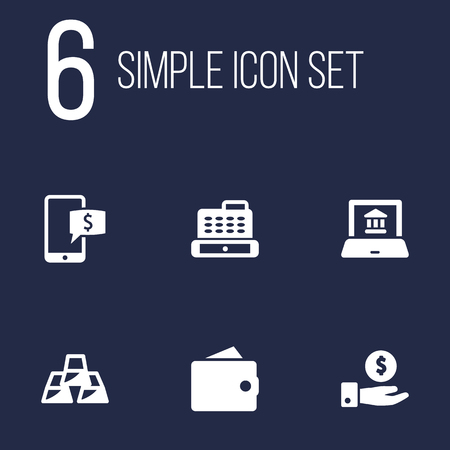 Set Of 6 Finance Icons Set.Collection Of Electron Report, Cashbox, Ingot And Other Elements.
