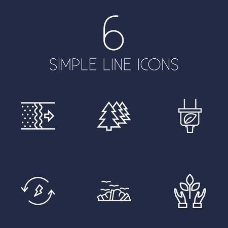Set Of 6 Atmosphere Outline Icons Set.Collection Of Afforestation, Air, Renewable Energy And Other Elements.