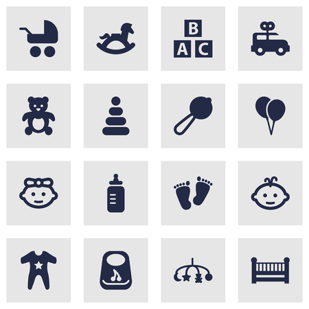 Set Of 16 Child Icons Set.Collection Of Smock, Decoration, Equine And Other Elements.