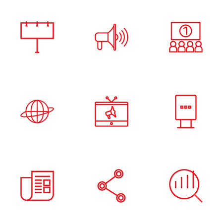 Set Of 9 Commercial Outline Icons Set.Collection Of Tv, Promotion, Stand Elements.