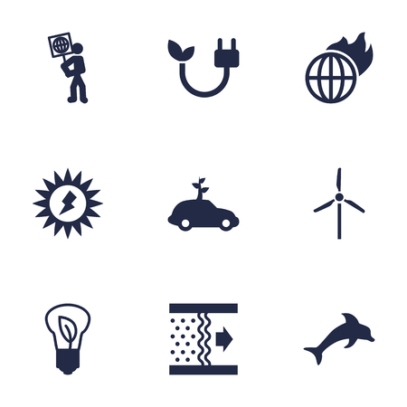 Set Of 9 Bio Icons Set.Collection Of Warm, Volunteer, Fish And Other Elements. Çizim