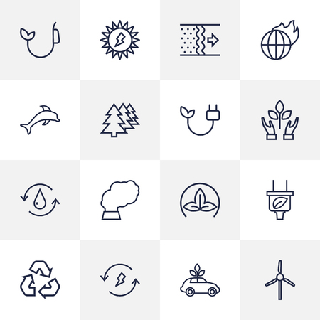 Set Of 16 Atmosphere Outline Icons Set.Collection Of Global Warming, Recycling, Dolphin And Other Elements. Ilustrace