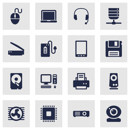 minicomputer: Set Of 16 Laptop Icons Set.Collection Of Headset, Microprocessor, Computer And Other Elements. Illustration