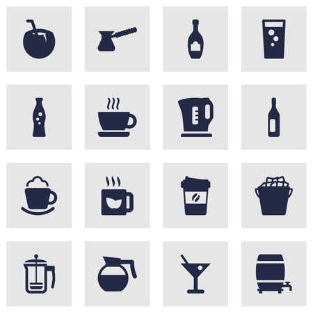Set Of 16 Drinks Icons Set.Collection Of Electric Teapot, Wine, Turkish Coffee And Other Elements.