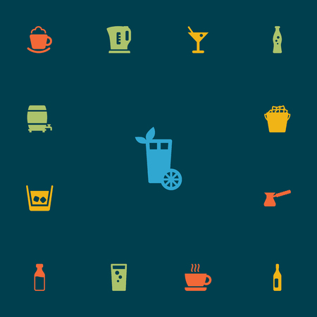 ferment: Set Of 13 Beverages Icons Set.Collection Of Cream, Fizzy Water, Cup And Other Elements.