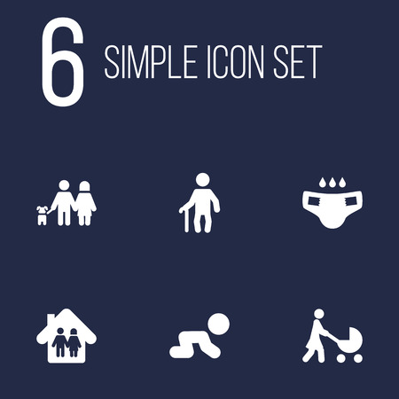 incontinence: Set Of 6 Family Icons Set.Collection Of Nappy, Walking, Creep Baby And Other Elements.