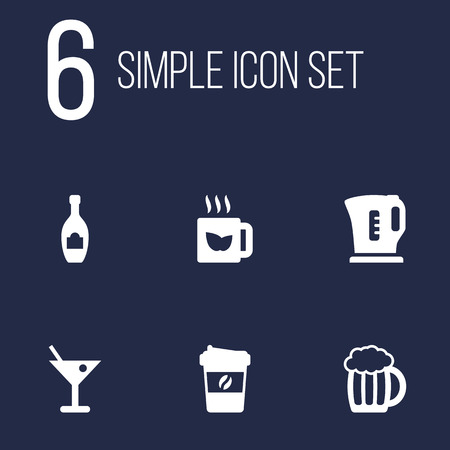 Set Of 6 Beverages Icons Set.Collection Of Electric Teapot, Espresso, Alcohol And Other Elements. Illustration