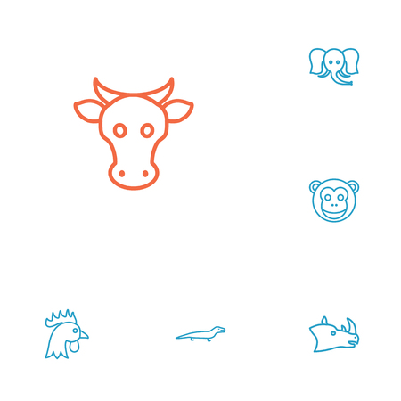 Set Of 6 Zoo Outline Icons Set.Collection Of Cock, Monkey, Lizard And Other Elements. Illustration