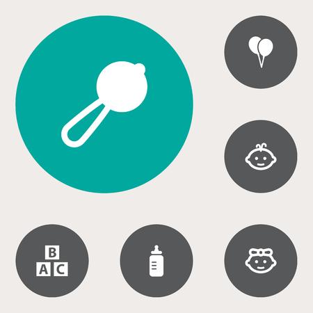nursing bottle: Set Of 6 Baby Icons Set.Collection Of Maraca, Milk, Girl And Other Elements. Illustration