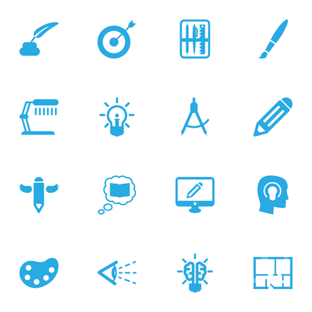 spotlight: Set Of 16 Creative Icons Set.Collection Of Pen, Bulb, Artist And Other Elements.