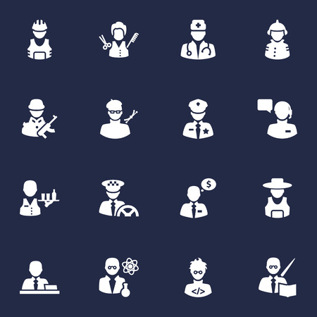Set Of 16 Job Icons Set.Collection Of Money Agent, Leaner, Fireman And Other Elements. Illustration