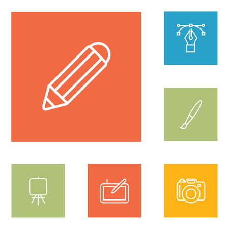 Set Of 6 Constructive Outline Icons Set.Collection Of Pencil, Graphic Tablet, Bezier Curve And Other Elements.