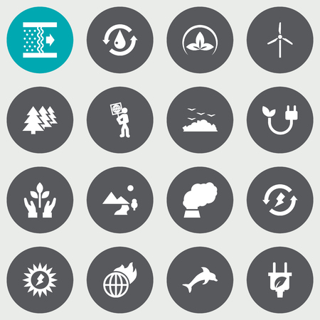 Set Of 16 Ecology Icons Set.Collection Of Reforestation, Protection, Energy And Other Elements.
