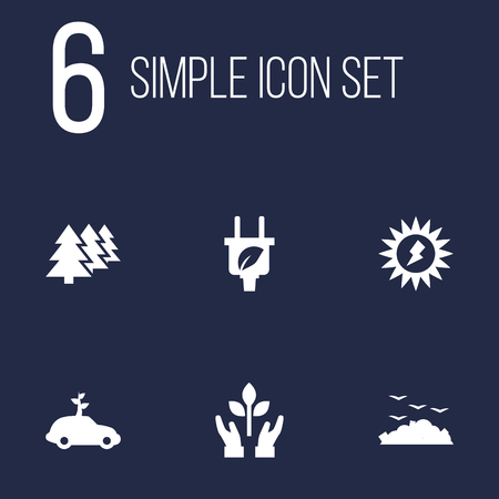 Set Of 6 Ecology Icons Set.Collection Of Car, Leaf, Protection And Other Elements.