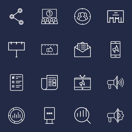Set Of 16 Advertising Outline Icons Set.Collection Of Mobile Marketing, Tv, Stand Elements. Vektoros illusztráció