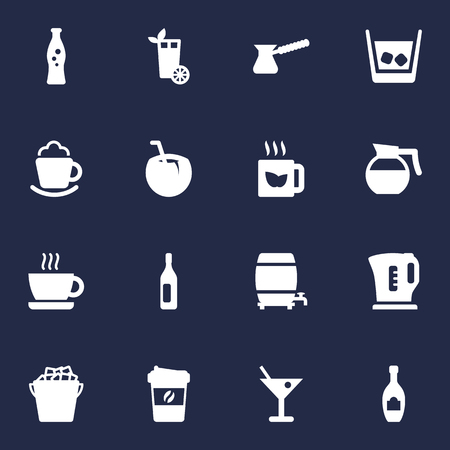 Set Of 16 Drinks Icons Set.Collection Of Turkish Coffee, Alcohol, Cream And Other Elements.