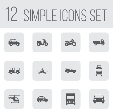 hatchback: Set Of 12 Traffic Icons Set.Collection Of Autobus, Hatchback, Truck And Other Elements.