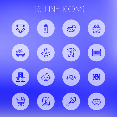 Set Of 16 Baby Outline Icons Set.Collection Of Bib, Toys, Rocking Horse And Other Elements. Illustration