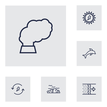 refinement: Set Of 6 Atmosphere Outline Icons Set.Collection Of Air, Solar, Garbage And Other Elements.
