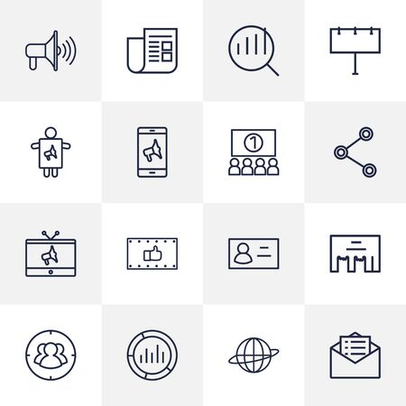 ceo: Set Of 16 Trade Outline Icons Set.Collection Of Email Promotion, Business Card, Social Media Ads And Other Elements.