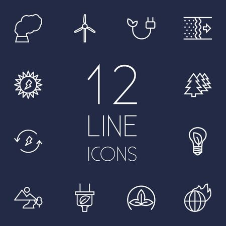Set Of 12 Bio Outline Icons Set.Collection Of Afforestation, Eco, Wind Turbine And Other Elements. Ilustrace