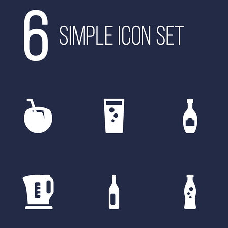 Set Of 6 Drinks Icons Set.Collection Of Cocktail, Soda, Alcohol And Other Elements.