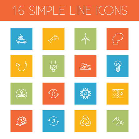 Set Of 16 Atmosphere Outline Icons Set.Collection Of Charge, Plug, Renewable Energy And Other Elements.