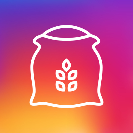 grain: Isolated Sack Outline Symbol On Clean Background. Vector Flour Element In Trendy Style.