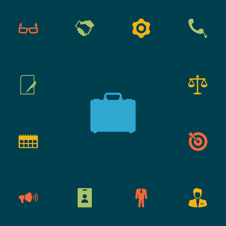 vision repair: Set Of 13 Management Icons Set.Collection Of Data, Spectacles, Mechanism And Other Elements. Illustration