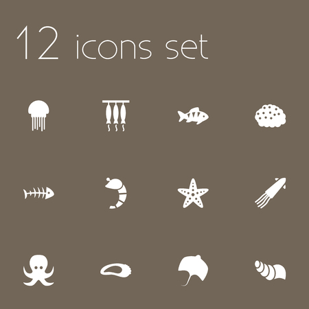 freshwater pearl: Set Of 12 Food Icons Set.Collection Of Smoked, Fish, Sink And Other Elements. Illustration