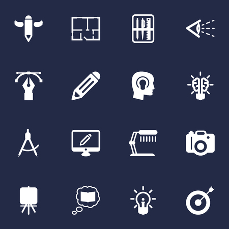 spotlight: Set Of 16 Constructive Icons Set.Collection Of Arrow, Stand , Idea Elements. Illustration