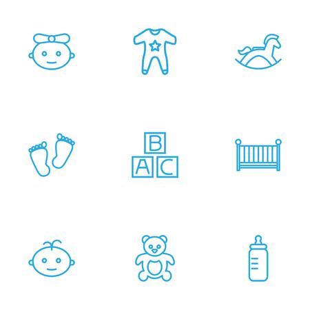 Set von 9 Kinder Outline Icons Set.Collection von Kittel, Baby, Flasche und andere Elemente. Standard-Bild - 82232025