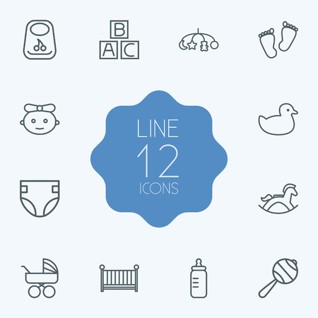 Set Of 12 Kid Outline Icons Set.Collection Of Rubber, Carriage, Diaper And Other Elements.