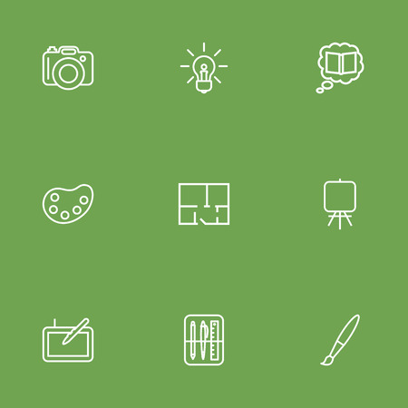 energy work: Set Of 9 Constructive Outline Icons Set.Collection Of Property Plan, Paintbrush, Knowledge And Other Elements.