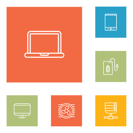 Set Of 6 Computer Outline Icons Set.Collection Of Server, Monitor, Tablet And Other Elements. Illustration