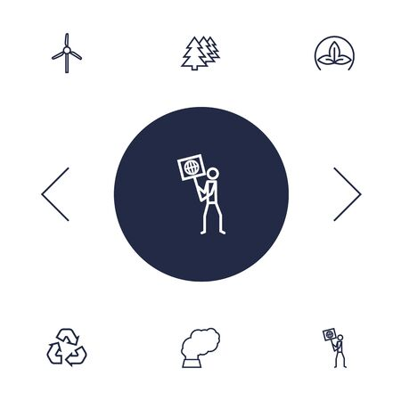 Set Of 6 Bio Outline Icons Set.Collection Of Wind Turbine, Afforestation, Recycling And Other Elements.