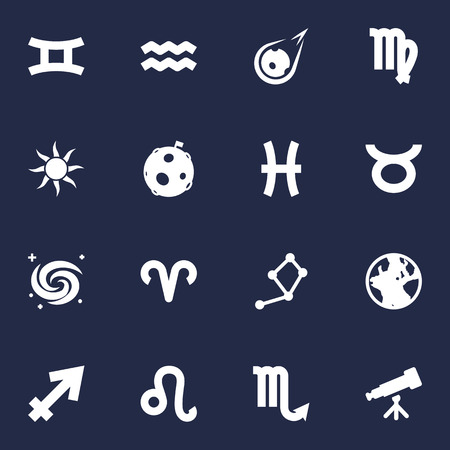 Set Of 16 Horoscope Icons Set.Collection Of Water Bearer, Space, Lion And Other Elements.