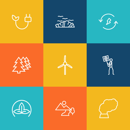 Set Of 9 Atmosphere Outline Icons Set.Collection Of Renewable Energy, Landscape, Electricity Elements.