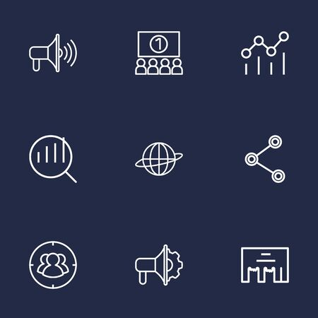 ceo: Set Of 9 Commercial Outline Icons Set.Collection Of Research, Social Media Ads, Brand Awareness Elements. Illustration
