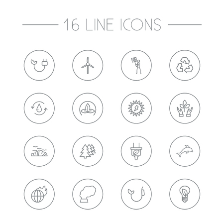 Set Of 16 Atmosphere Outline Icons Set.Collection Of Eco, Recycling, Afforestation And Other Elements.