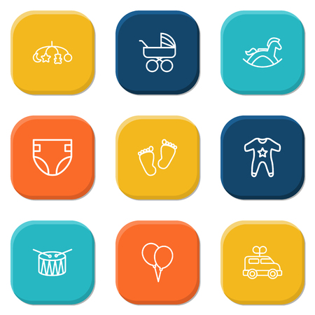 Set Of 9 Baby Outline Icons Set.Collection Of Diaper, Clockwork Car, Toys And Other Elements.