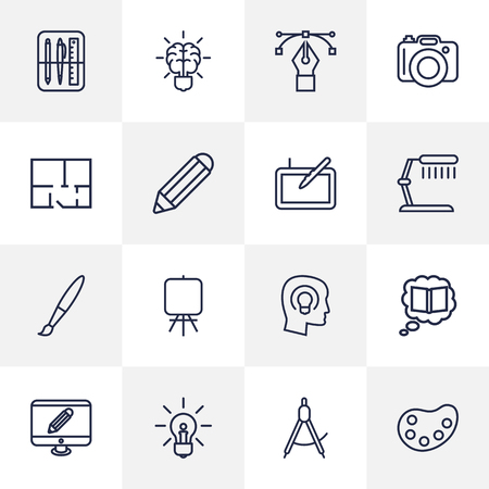 Set Of 16 Constructive Outline Icons Set.Collection Of Brain, Bezier Curve, Pencil And Other Elements.