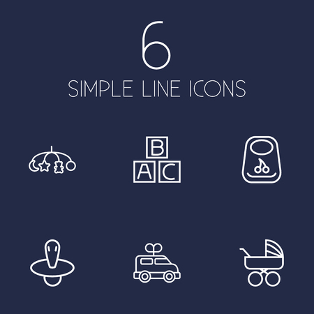Set Of 6 Child Outline Icons Set.Collection Of Clockwork Car, Carriage, Bib And Other Elements.