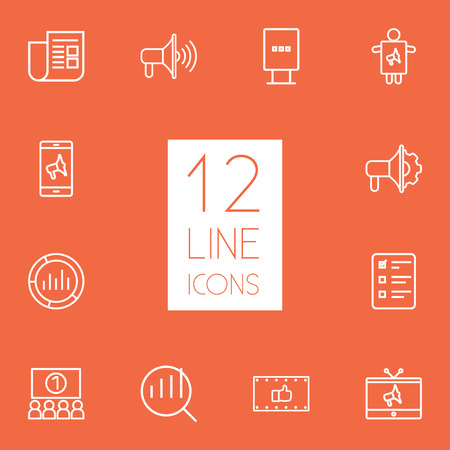 best ad: Set Of 12 Advertising Outline Icons Set.Collection Of Ad Banner, Newspaper, Worker And Other Elements. Illustration