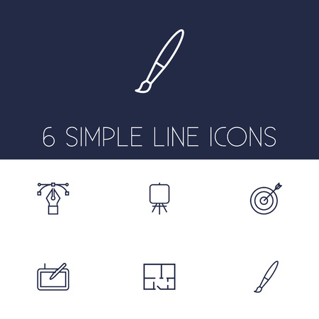 Set Of 6 Creative Outline Icons Set.Collection Of Property Plan, Bezier Curve, Easel And Other Elements. Illustration